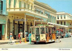 Mini Bus SACRAMENTO, CA Old Town Street Scene c1970s Continental Postcard