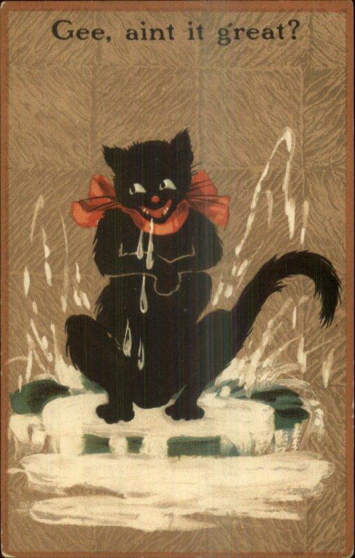 Black Cat Drooling Salivating AIN'T IT GREAT c1910 Postcard - Fantasy