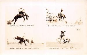 B21/ Rodeo Cowboy Horses Real Photo RPPC Postcard c50s 4View Richer Voder Curly7