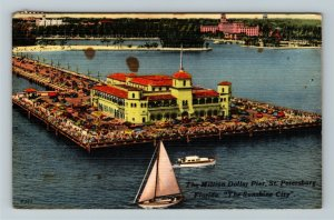 St. Petersburg FL-Florida,Million Dollar Pier,Sailboat,Ocean,Linen c1963Postcard
