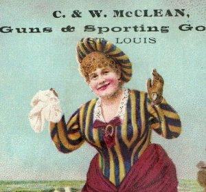 1880's-90's C & W McClean Guns Sporting Goods Beach Happy Woman P202