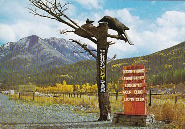 Canada Alberta Blairmore Crows Carving Entrance To Crowsnest Pass