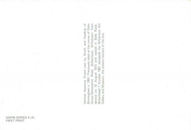 Postcard, Vertical Aperture Fluted Post Box Illustration, Birkenhead c 1857 80R
