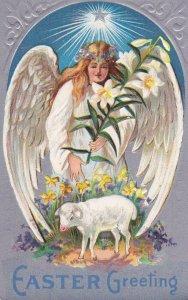 EASTER ; Angel , White Wings w/lamb , 00-10s