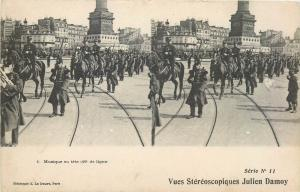 Stereographic stereo view postcard military parade