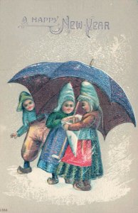 A Happy New Year Young Girls & A Boy Sharing An Umbrella Embossed Postcard