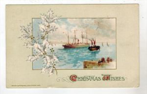 1662 John Winsch  1913 Steamer Ship in Harbor Christmas
