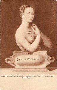 Portrait of Sabina Poppoea Fine art, painting, old vintage Swiss postcard