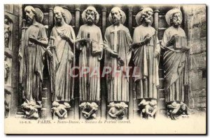Old Postcard From Paris Notre Dame Statues Central Portal