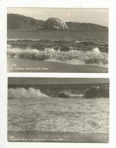 RP, 2 Cards, El Morro, Oleaje Al Pie De La Cuesta, Acapulco Gro, Mexico, 1930s