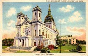 Minnesota Minneapolis Basilica Of St Mary 1942 Curteich
