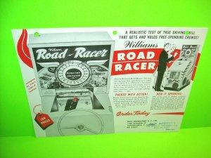 Williams ROAD RACER 1961 Original Vintage Arcade Game Promo Sales Flyer RARE