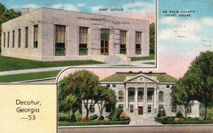 Decatur, GA, Post Office, De Kalb County Court House, 1944 Linen Postcard h3518
