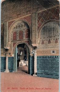 Sevilla, Spain - Salon of Dona Maria de Padilla 1 penny stamp c16
