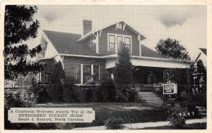C28/ Sanford North Carolina NC Postcard 1941 Evergreen Tourist Home