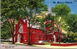 Greenville SC St. Mary's Church Postcard unused 1930s/40s