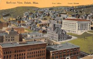 Duluth Minnesota birds eye view post office courthouse antique pc Z39759