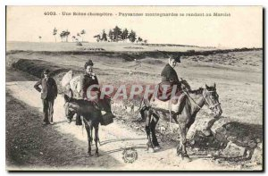 Old Postcard Folklore A Scene Peasant Farmers visiting the mountain walking h...