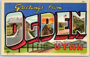 Vintage OGDEN Utah Large Letter Postcard Curteich Linen #8A-H2737 - Dated 1943