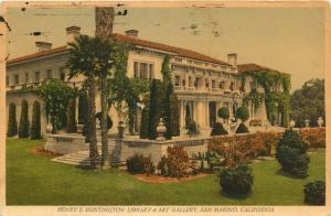 San Marino, CA, Henry E. Huntington Library & Art Gallery, 1970 Postcard e986
