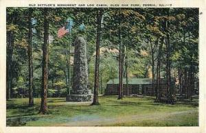 Old Settler's Monument & Log Cabin Glen Oak Park Peoria IL