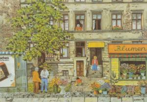 Berlin Flower Shop Renate Dobler German Painting Postcard