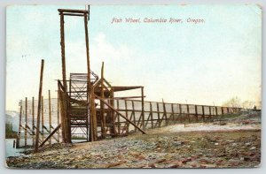 Columbia River Oregon~Fish Wheel~Close Up from Rocky Beach~1907 Scenic Postcard