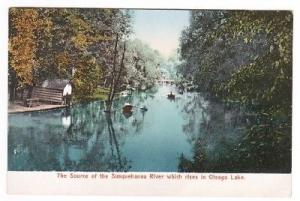 Boating Susquehanna River Otsego Lake New York 1907c postcard