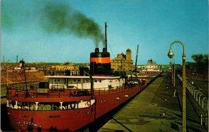 Postcard Ship at Soo Locks, Sault Ste. Marie, MI. VINTAGE  MICHIGAN