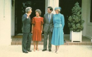 Charles & Diana With Australian Prime Minster & Wife Canberra Postcard