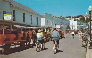 Bicycles and Horses,  Main Street,  Mackinac Island,  Michigan,   40-60s