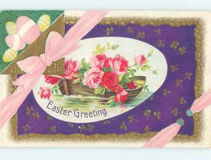 Pre-Linen easter BOAT FULL OF ROSE FLOWERS ON EGG WITH PINK RIBBON hr1848