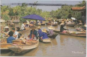 Thailand, Floating Market, used Postcard