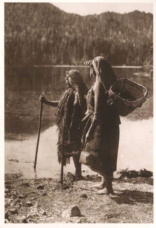 Waiting for Canoe Nuu-Cha-Nulth Women BC Indigenous Edward Curtis Postcard D30