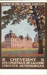 French RR Rail Travel Poster Art Chemin de Fer Paris Orleans Cheverny Postcard