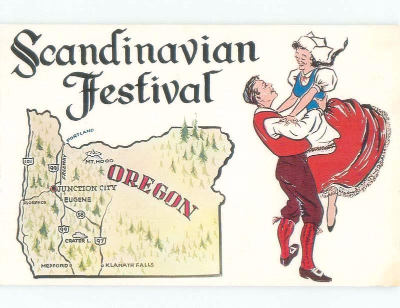 Pre-1980 SCANDINAVIAN FESTIVAL SOUVENIR CARD Junction City Near Eugene OR E9162