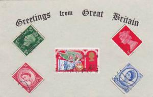 Greetings from Great Britian , Real Stamps on Postcard , 1950-70s : #3