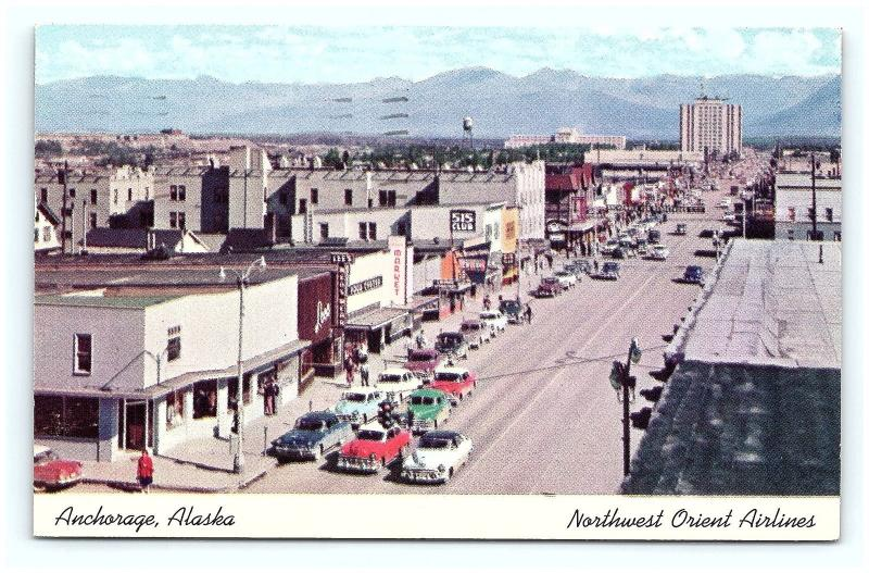 Postcard AK Anchorage 1950's Old Cars Street View Northwest Orient Airlines G15