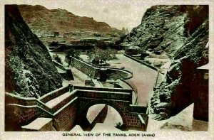 Yemen General view of The Tanks Aden Arabia Panorama Postcard