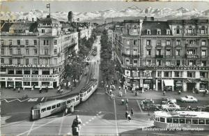 Suisse Switzerland Zurich Bahnhofstrasse und die Glarneralpen hotel stores trams