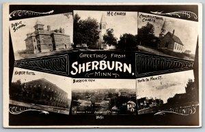 Sherburn MI Art Nouveau~School, Churches~Haber Hotel, Birdseye, Main St RPPC 190