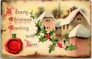 1910 Holiday Embossed Postcard Winter Scene Hearty Christmas Greeting with Love