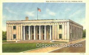 Jackson, MI USA,  Post Office Postcard, Postoffice Post Card Old Vintage Anti...