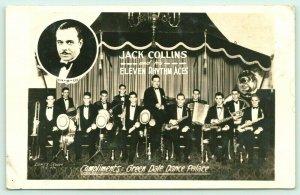 Kansas City MO Bert's Studio~Jack Collins Band & Eleven Rhythm Aces~c1940 RPPC