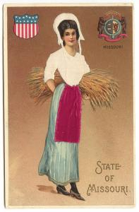 State of Missouri Beautiful Woman Silk Langsdorf State Girl Set Postcard