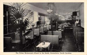 Greensboro North Carolina Palms Restaurant Interior Antique Postcard K53871