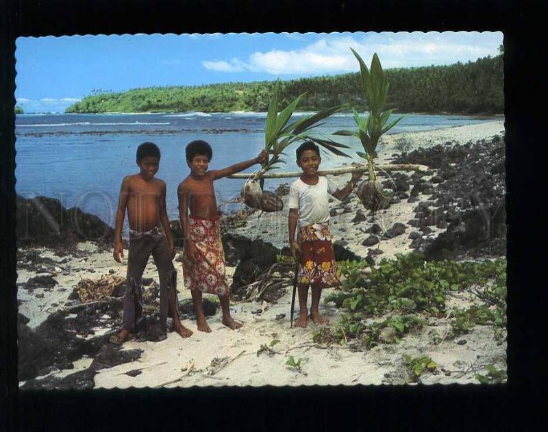 210042 WESTERN SAMOA east coast scene on Upolu old postcard