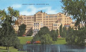 MILWAUKEE, WI Wisconsin     COUNTY HOSPITAL       c1940's Linen Postcard