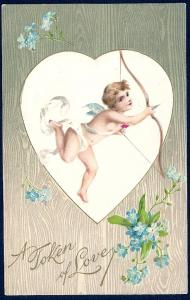 Token of Love Cupid w/Bow & Arrow used c1908