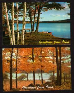 IA Lot 2 Greetings From Iowa Postcards Lake Picnic Table area